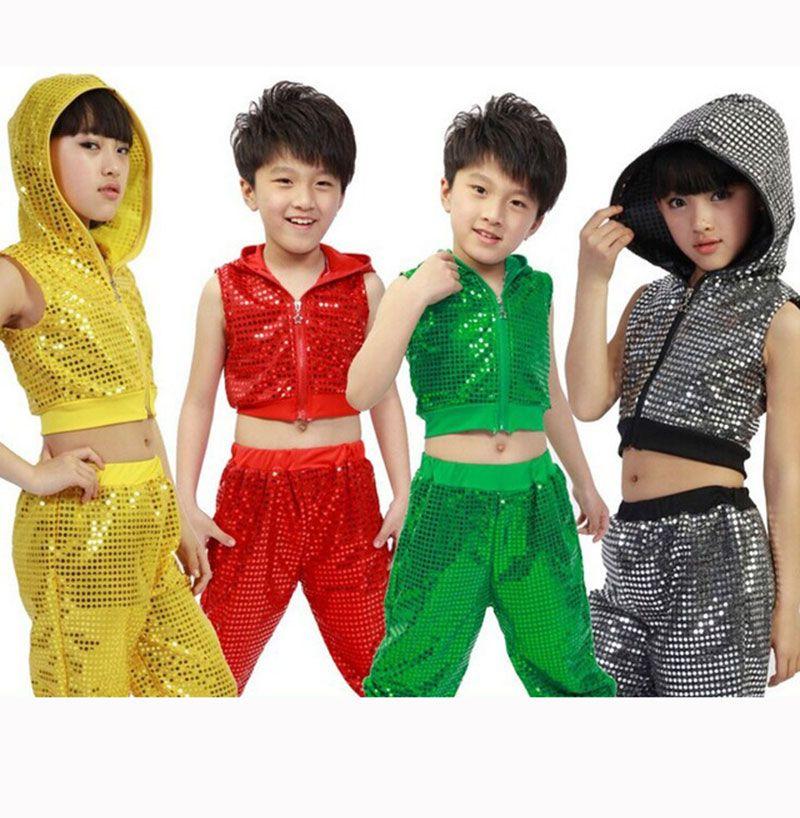Girl Boy Jazz Dance Girls Jazz Dance Costumes for Girls Kids Sequin Hip Hop  Dancing Children Performance Jazz Costume For Boys ec37052d03cf