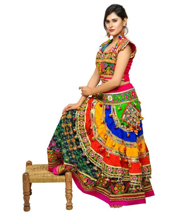 Banjara Boho Embroidered Navratri Chaniya Choli - Gujarat Garba Dance Costume -Ghaghra Choli - Gypsy Belly Dance Dress - Lehenga Choli #chaniyacholi