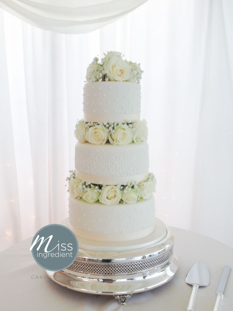 Wedding Cake With Fresh Flowers At Parley Manor