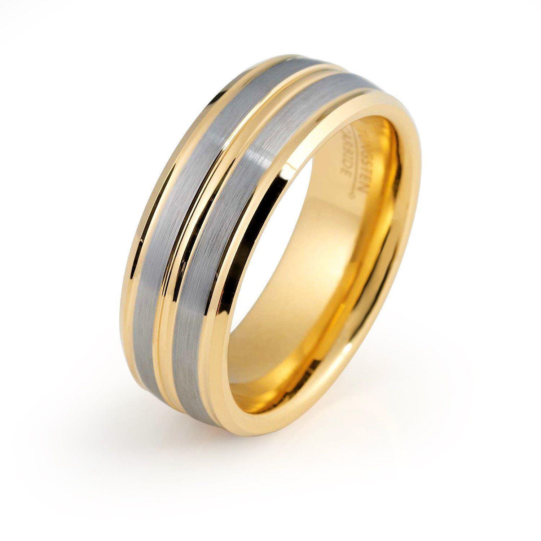 Yellow Gold Wedding Ring Mens Wedding Band 8mm 18k