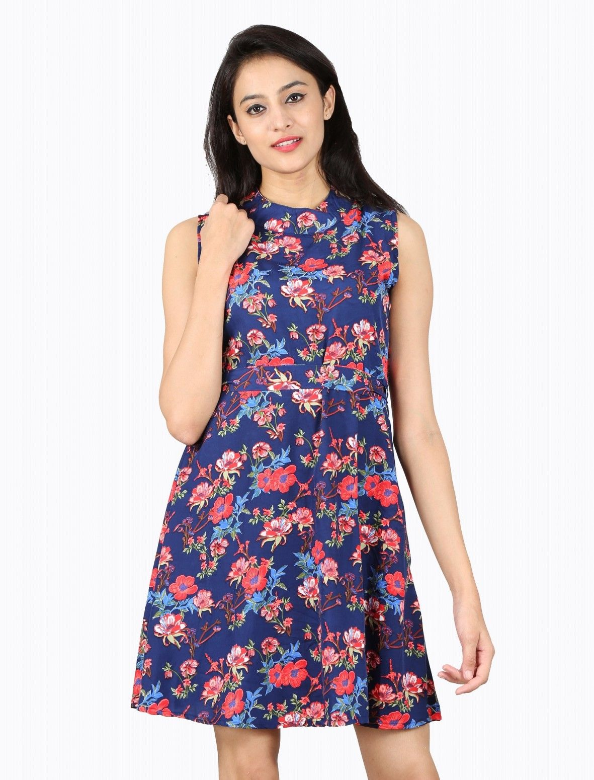 Buy Nishtag Navy Blue Floral Printed Sleeveless Knee Length Dress Online at  Low prices in India af896fca4