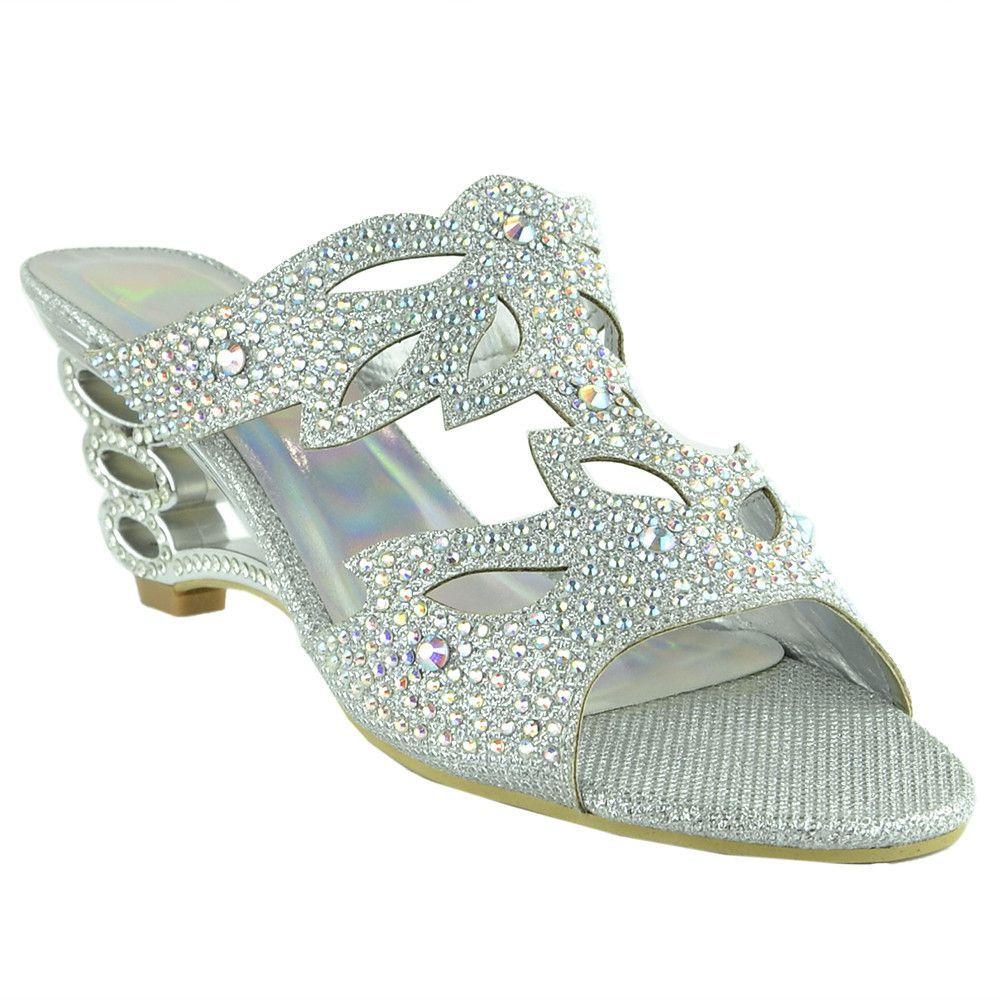 Women's sandals with bling - Womens Dress Sandals Rhinestone Glitter Cutout Wedge Heel Sandals Silver