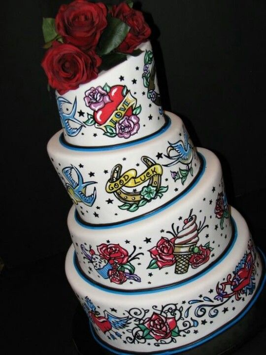 Tattoo Cake CAKE MANIA Pinterest Tattoo Cake Cake And - Rockabilly birthday cake