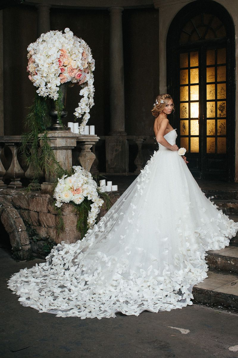 Dramatic wedding dresses  Speranza Couture tulle wedding dress skirt and train embroidered