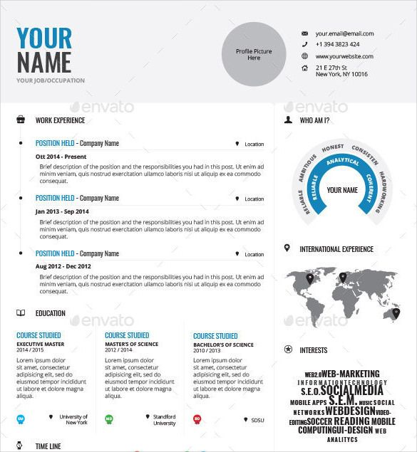 Professionally Designed Infographic Resume Template INDD Format - open office resume templates free download