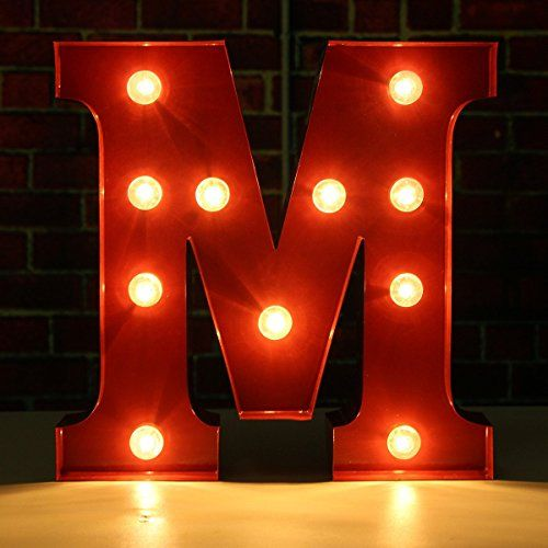 Buy SOLMORE 23CM X 5.5CM LED Letter Light DIY Vintage Metal Sign Carnival  Wall Marquee