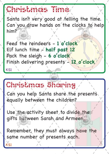 Ks Maths Christmas Challenge Cards