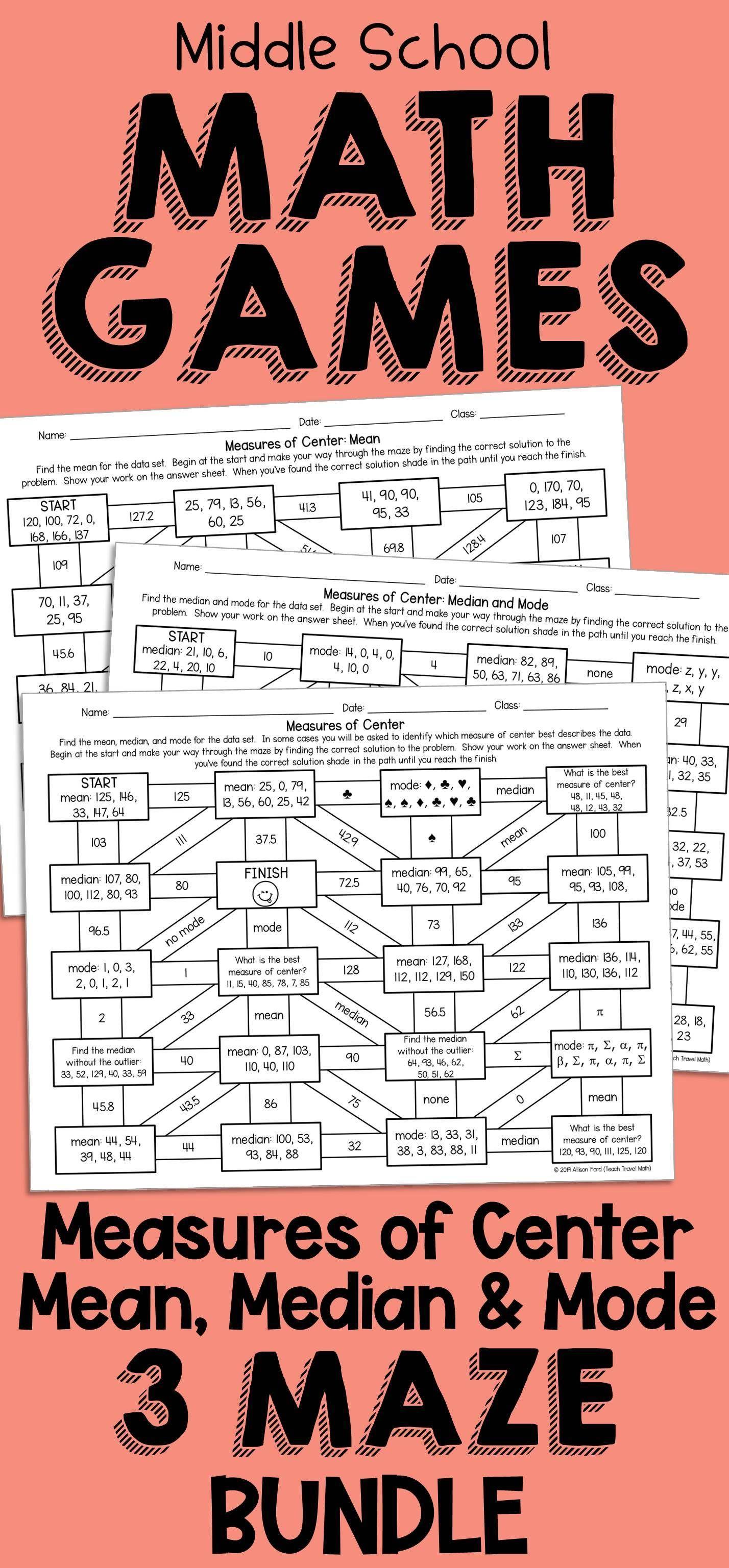 Statistical Measures Maze Bundle Mean Median Mode