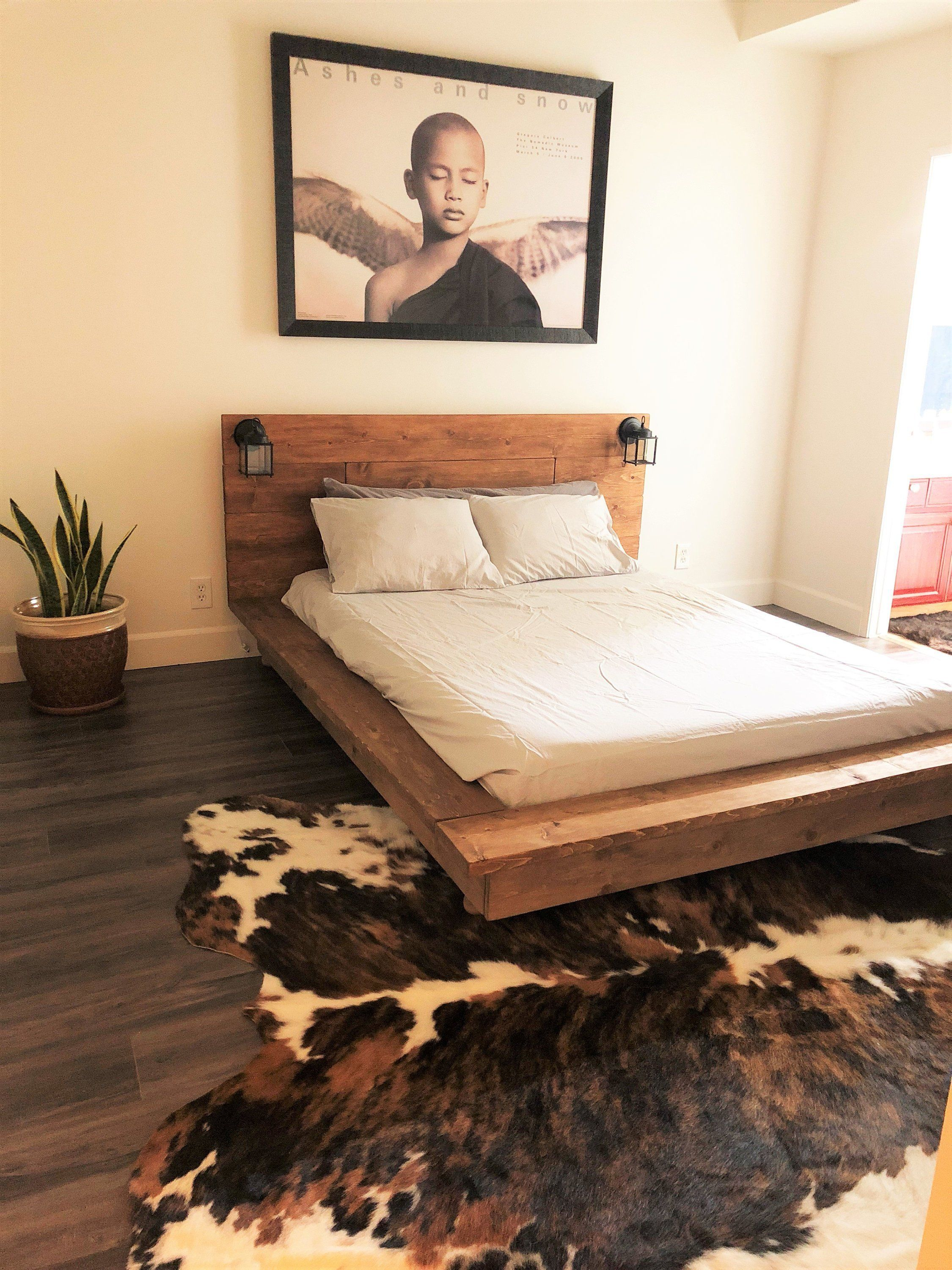 Floating Wood Platform Bed Frame With Lighted Etsy Wood