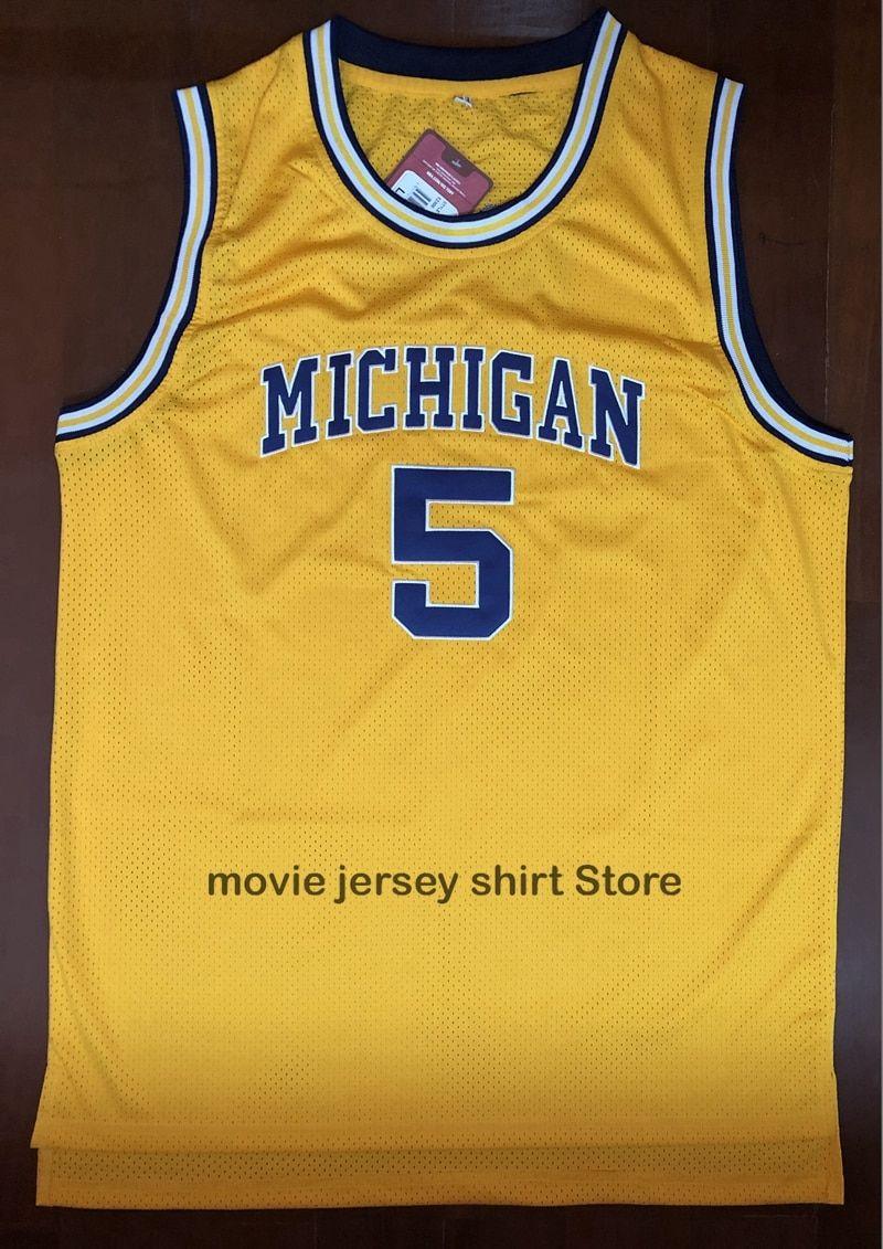 992376cdb0e Buy Vintage Jalen Rose University of Michigan #5 yellow jersey all size