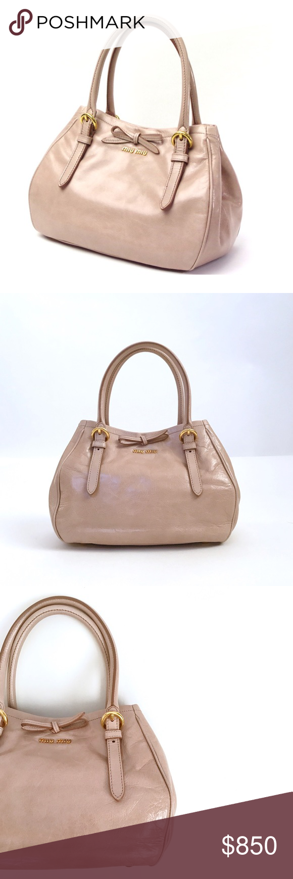 Miu Miu Vitello Shine Miu Miu Vitello Shine Satchel Adorable little bag  from Miu Miu ... adorned with a cute bow in the front and the beautiful  blush nude ... 0673f105e0