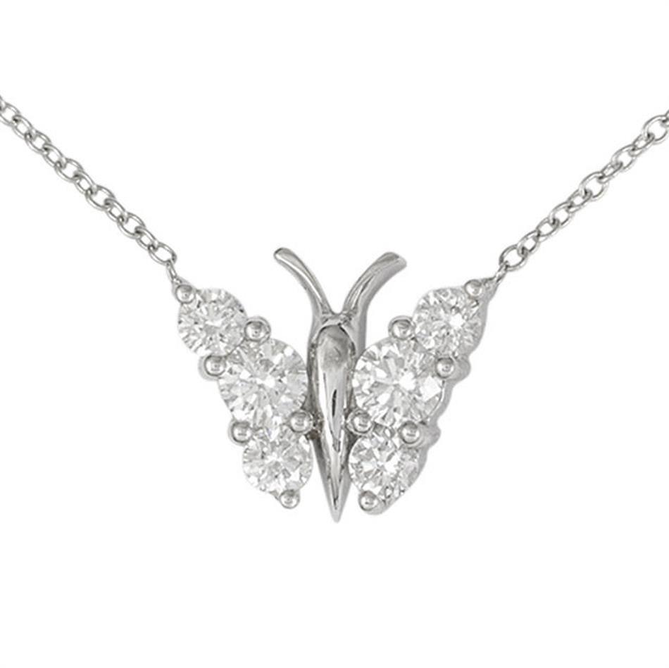 A diamond set butterfly pendant necklace modern jewellery