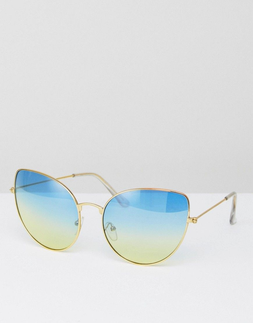 3a11c7c92c 7x Blue Tinted Lense Sunglasses - Gold