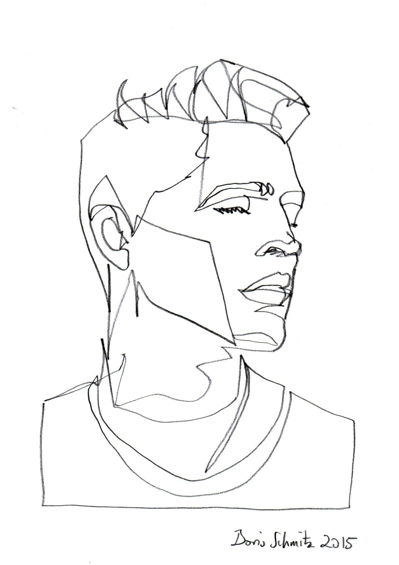 Continuous Line Drawing Of A Face : Borisschmitz quot gaze one continuous line drawing by