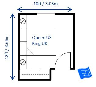 12 x 10ft small bedroom design for a queen size bed (king in ...