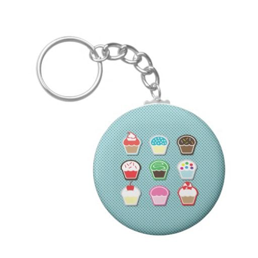 Mmm, Cupcakes! Basic Round Button Keychain