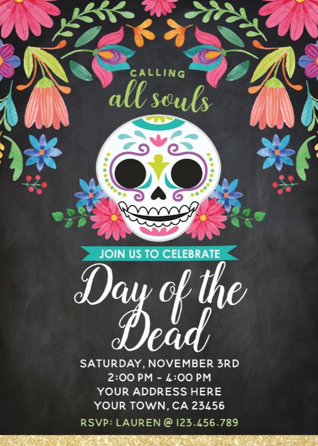 Day Of The Dead Party Invitation Zazzle Com Day Of The Dead Party Party Invitations Day Of The Dead