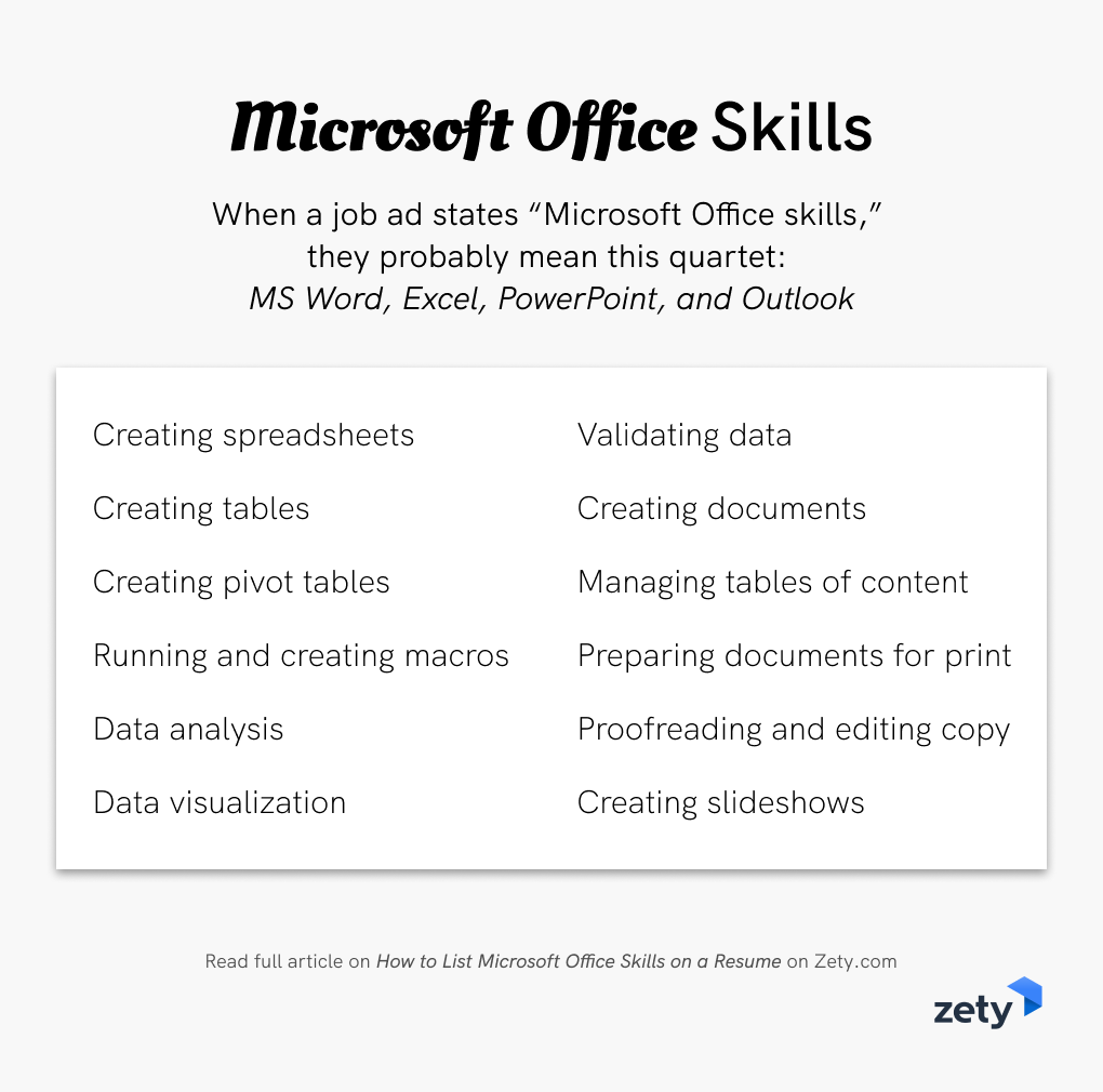 Examples Of Microsoft Office Skills You Can Put On A Resume Resume Skills List Job Resume Examples Resume Skills