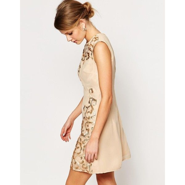 Little Mistress Embellished Shift Dress ($31) ❤ liked on Polyvore featuring dresses, white, sequin dress, sequin chiffon dress, white sequin dress, chiffon cocktail dress and embellished cocktail dress