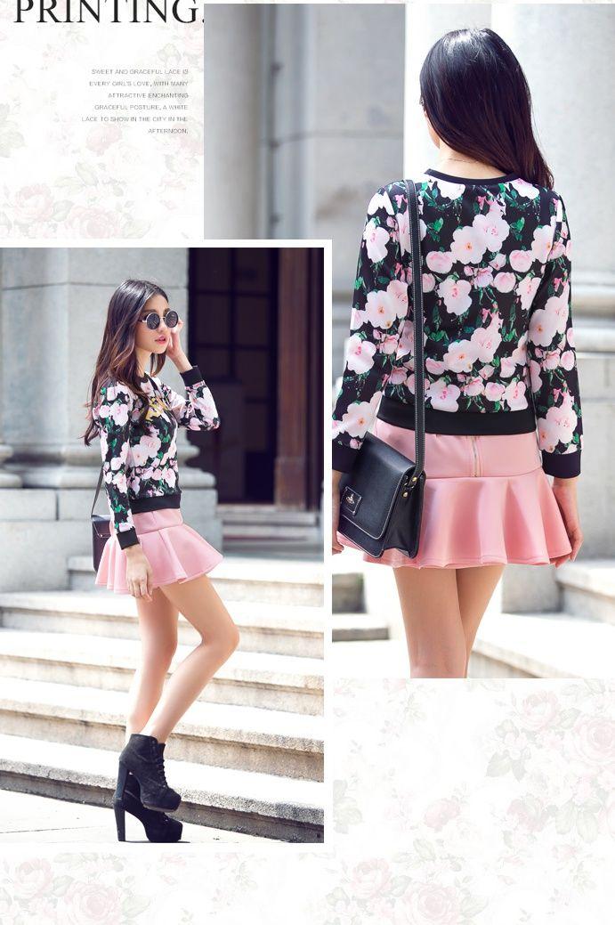 DR000450 High waist skirt digital tops for women