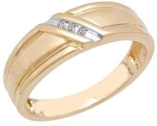 Brilliance Fine Jewelry Men S 10k Gold Wedding Band Ring With Diamond Accent Slash Walmart Com Wedding Ring Bands Gold Wedding Band Diamond Wedding Bands