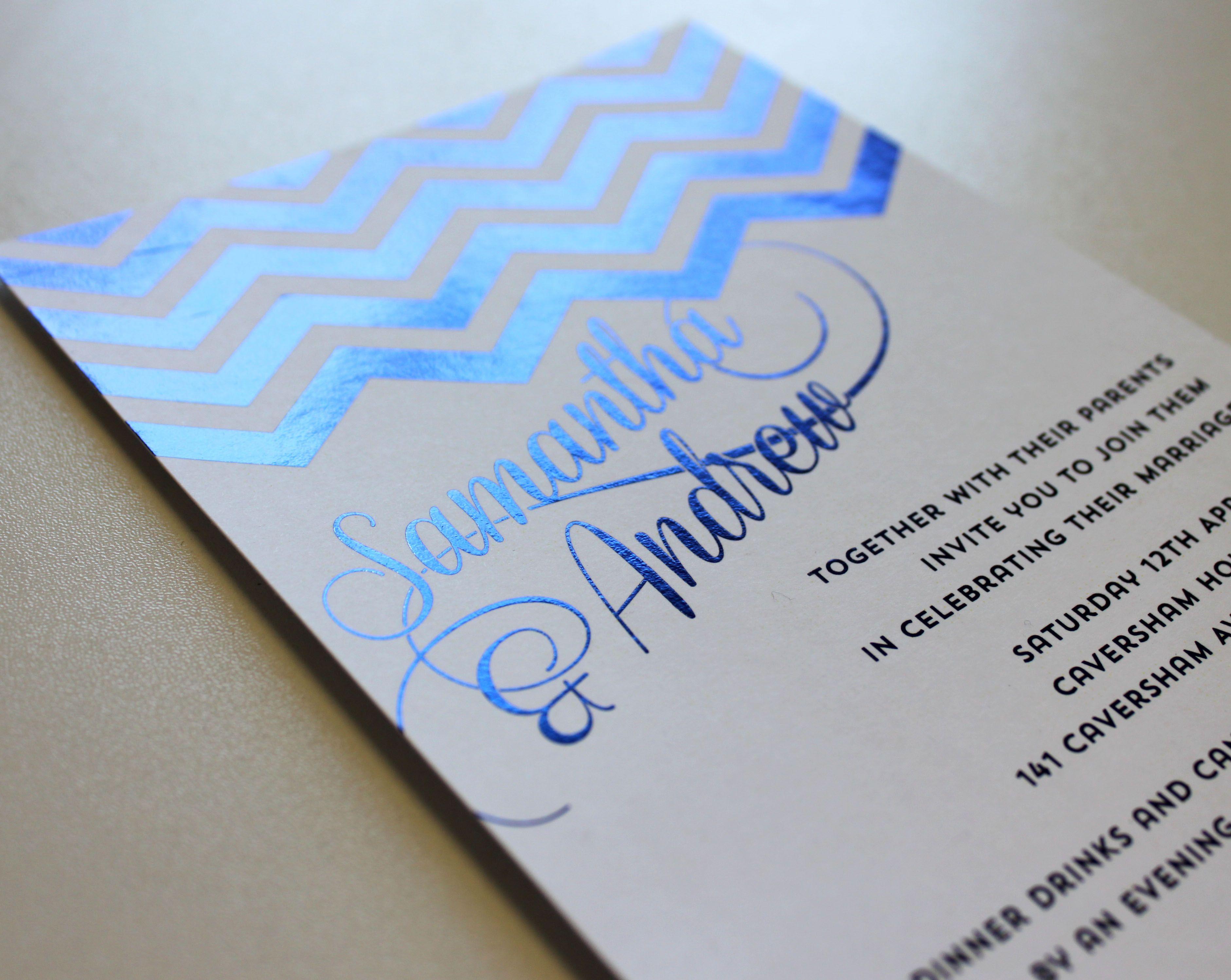 Shiney blue foil chevron wedding invitation wedding event business cards shiney blue foil chevron wedding invitation magicingreecefo Image collections