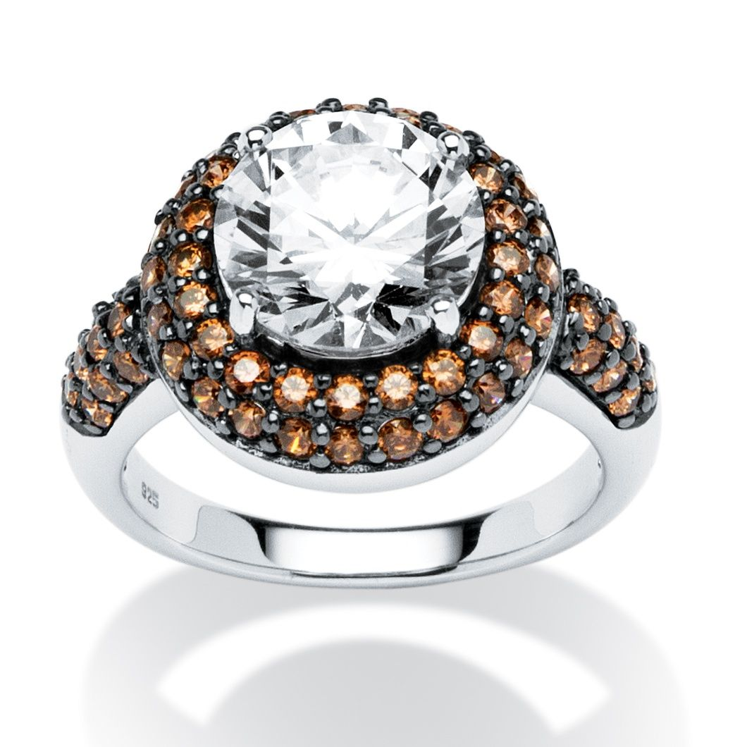 4 46 Tcw Round Cubic Zirconia And Chocolate Cz Cocktail Ring In Platinum Over Sterling Silver At Palmbeac Wedding Rings For Women Jewelry Sterling Silver Rings