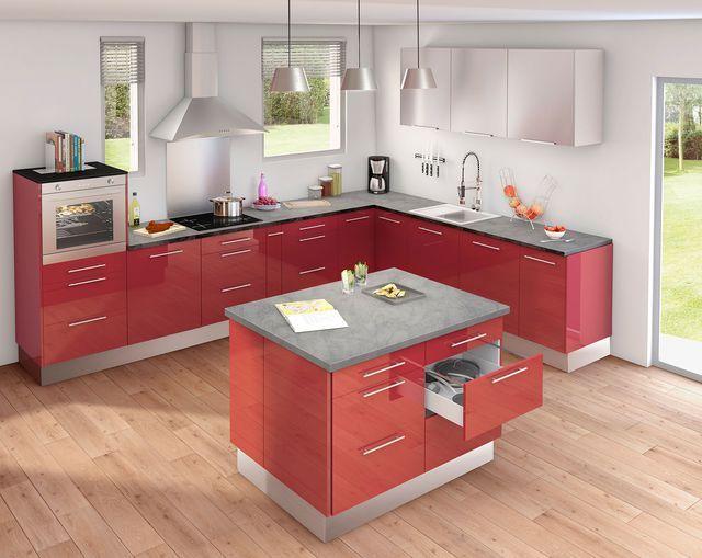 Meuble de cuisine  nos modèles de cuisine préférés City style - Photo Cuisine Rouge Et Grise