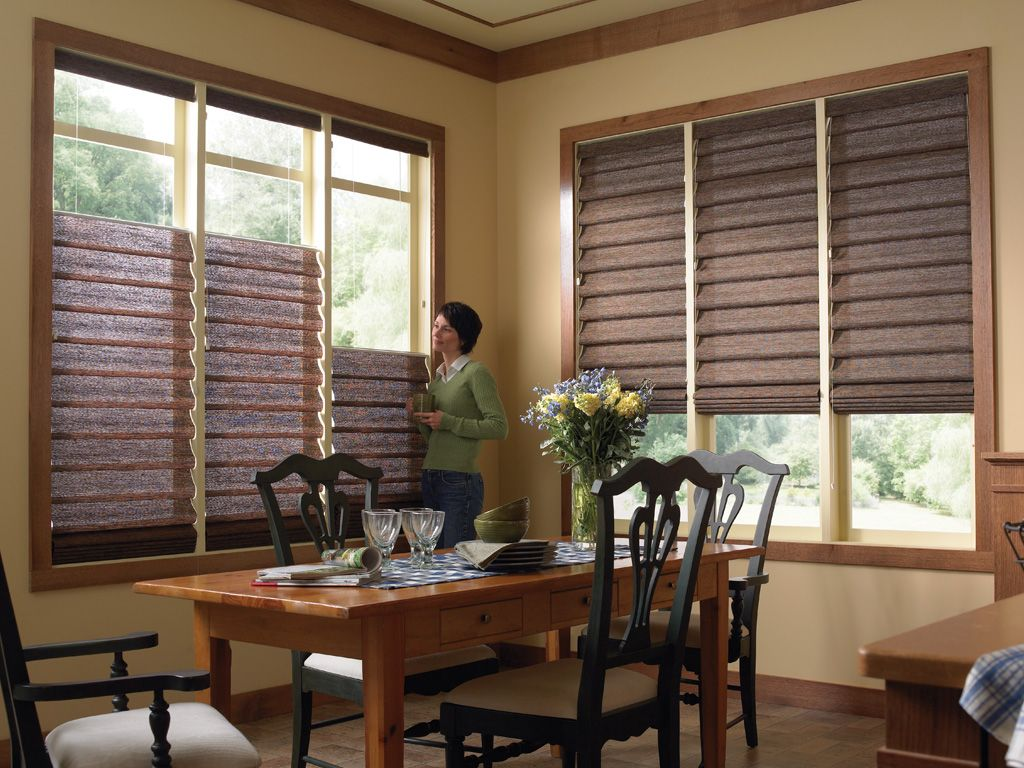 Dining Room Window Blinds Roman Shades Insulated Bay Window  Room Decoration With