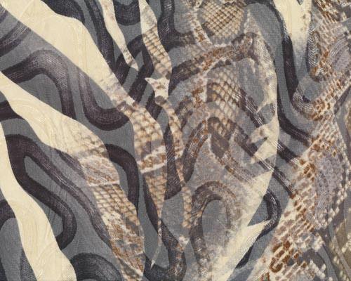 """Edler+Chiffon+mit+Strukturwellen+\""""Snake\""""+mit+Afrika-Druck,+cremé-schwarz-braun"""