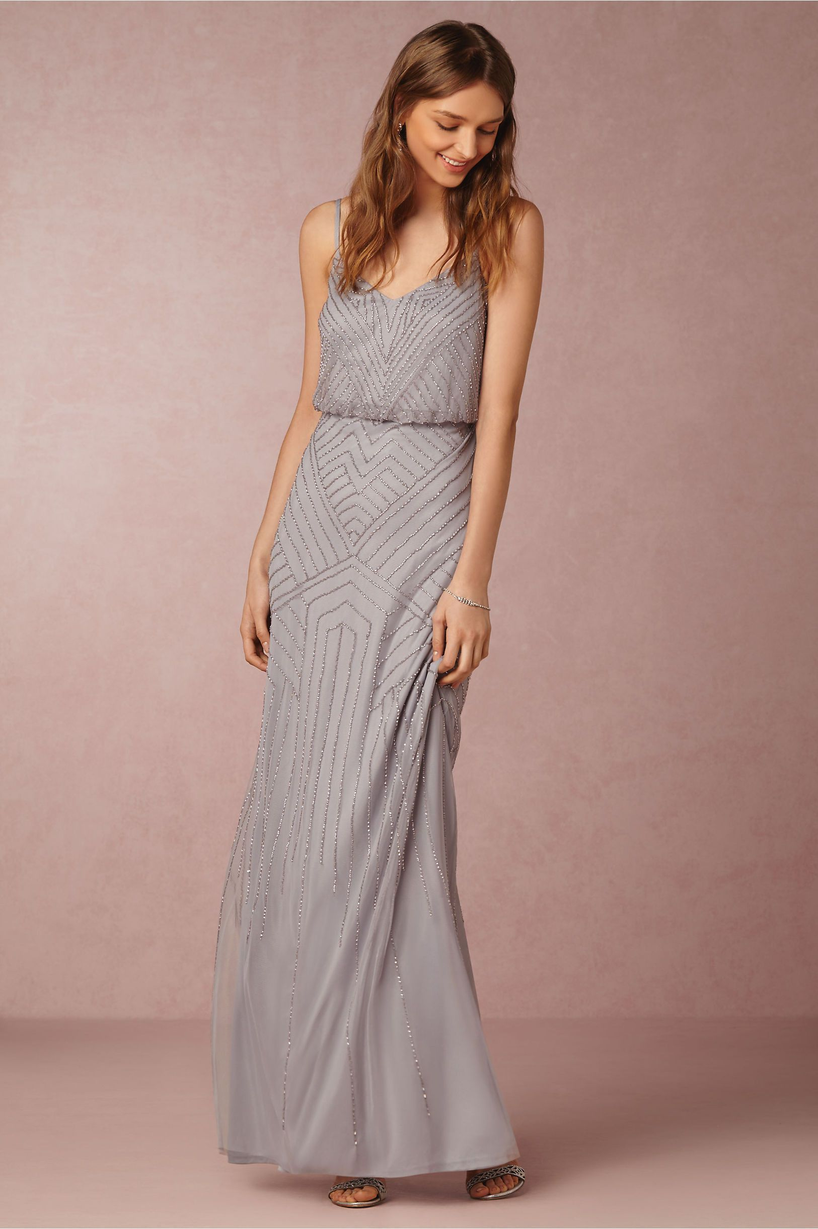 Bhldn adrianna papell sophia gown silver gray look festa