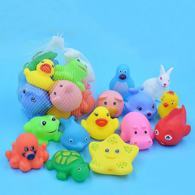 13 Pcs Lovely Mixed Animals Swimming Water Toys Colorful Soft Rubber ...