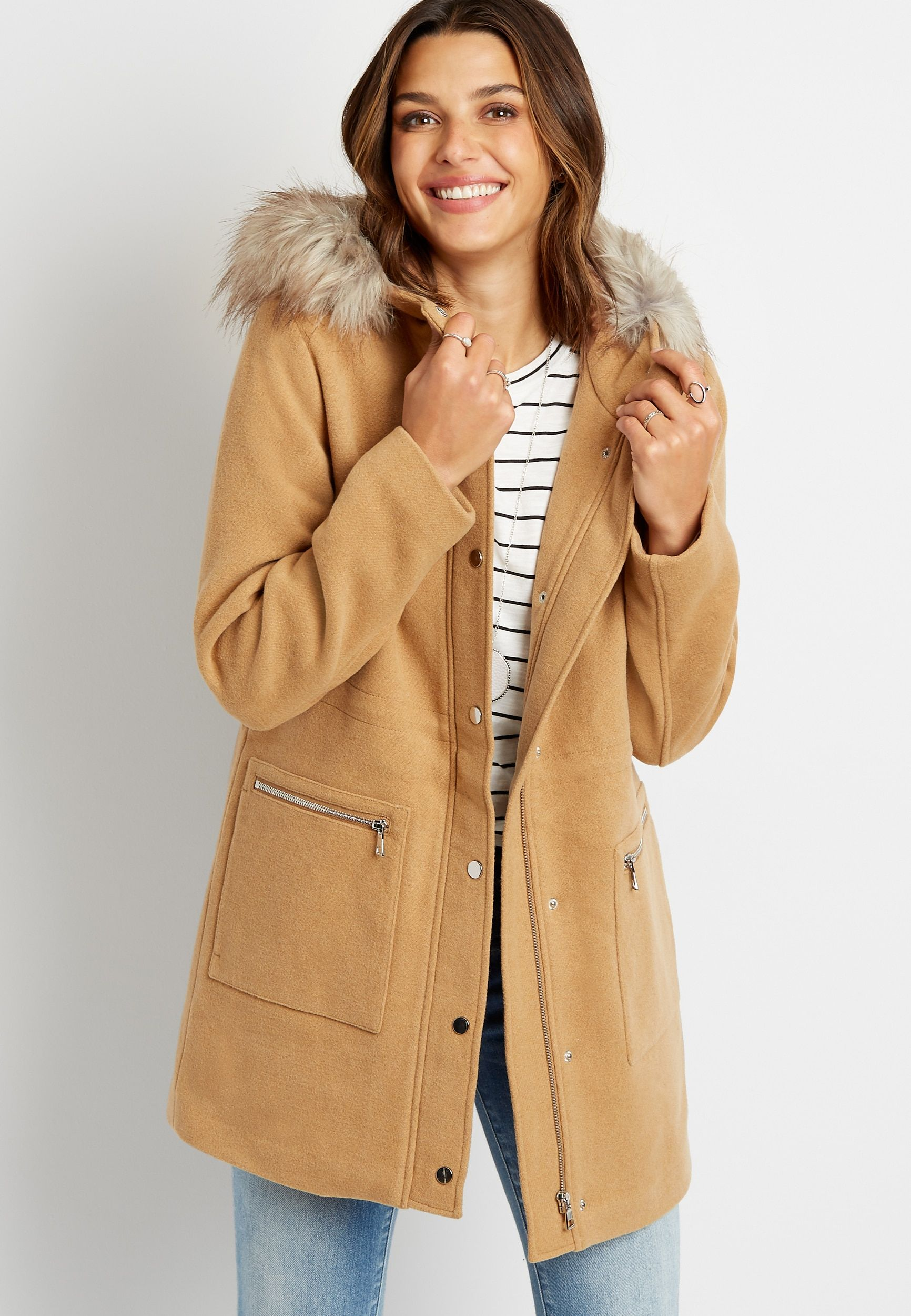 Solid Faux Fur Trim Hooded Outerwear Jacket Hooded Outerwear Outerwear Jackets Outerwear [ 2500 x 1732 Pixel ]