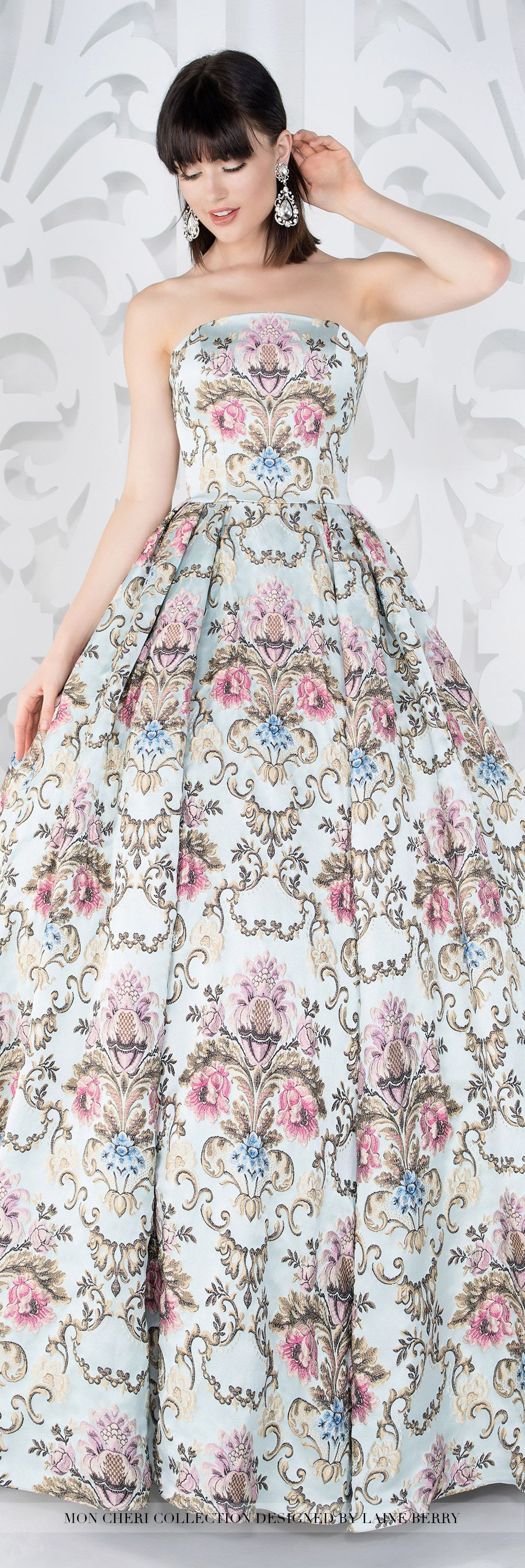 Mon Cheri Collection - Fall 2016 Wedding Gowns - Style No. MCLB21656B Viola - strapless floral ball gown wedding dress with multi-colored French brocade pattern
