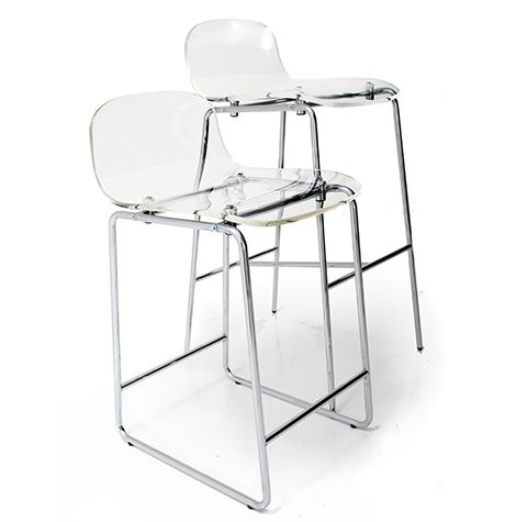 POP- Bar stool with acrylic seating; height-rised chromed base. Available in lower two-legged and higher four-legged structure.