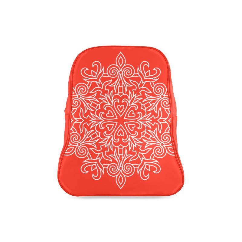 Symbol Ornaments Lily Heart Mandala White School Backpacklarge