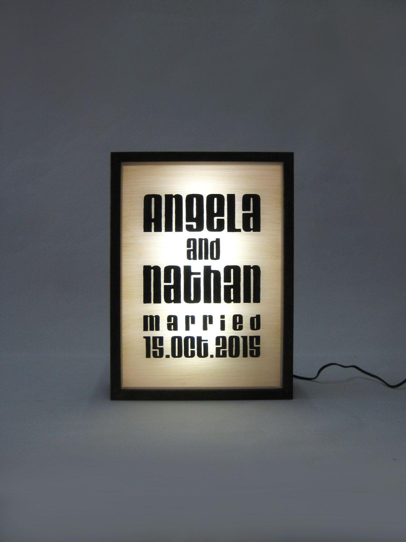 Personalised Hand Painted Wedding Name Date Sign Wooden Light Box Sign Illuminated Alphabet Typography Oak Frame Led Bingkai Lampu Kotak