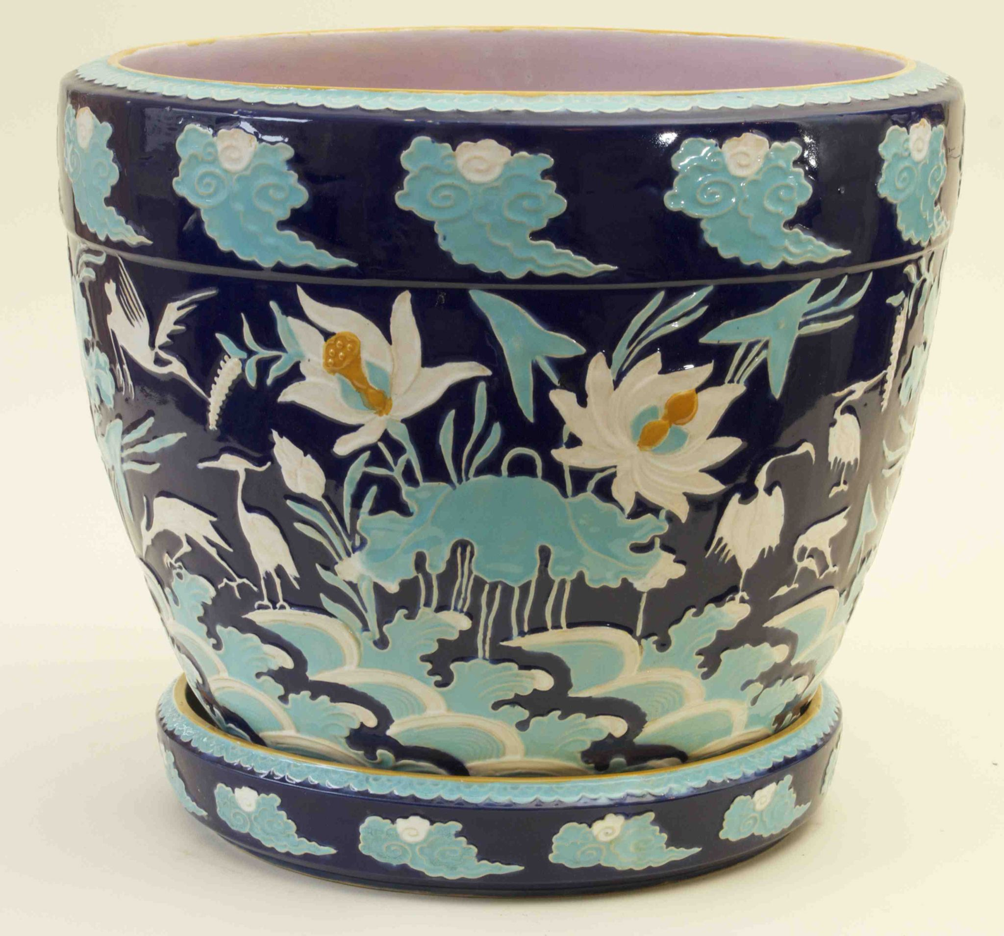 Image from the Majolica International Society, Karmason Library. Member's collection. Minton Majolica Cobalt/Turquoise Jardinière
