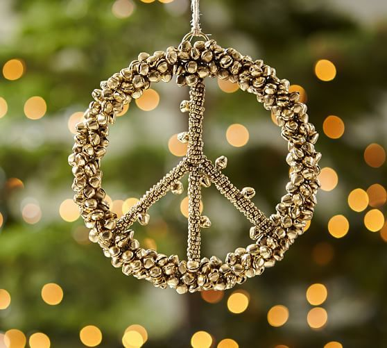 Bell Peace Sign Ornament Benefiting St Jude Pottery Barn
