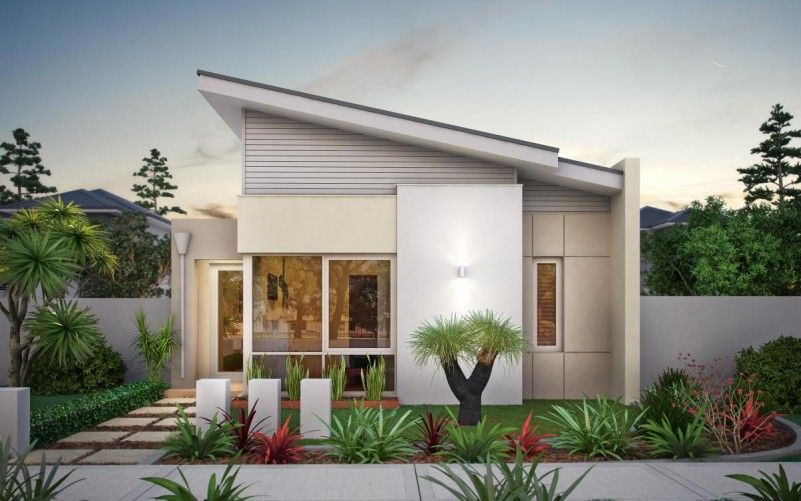Elegant Home Design Single Story Plus Small Garden Ideas Add More Freshness  In House Sloping Roof