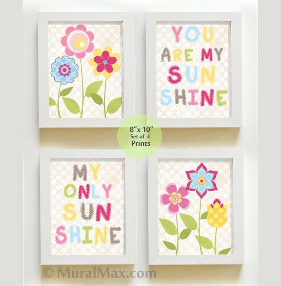 You are My Sunshine Nursery Decor Prints for by MuralMAX