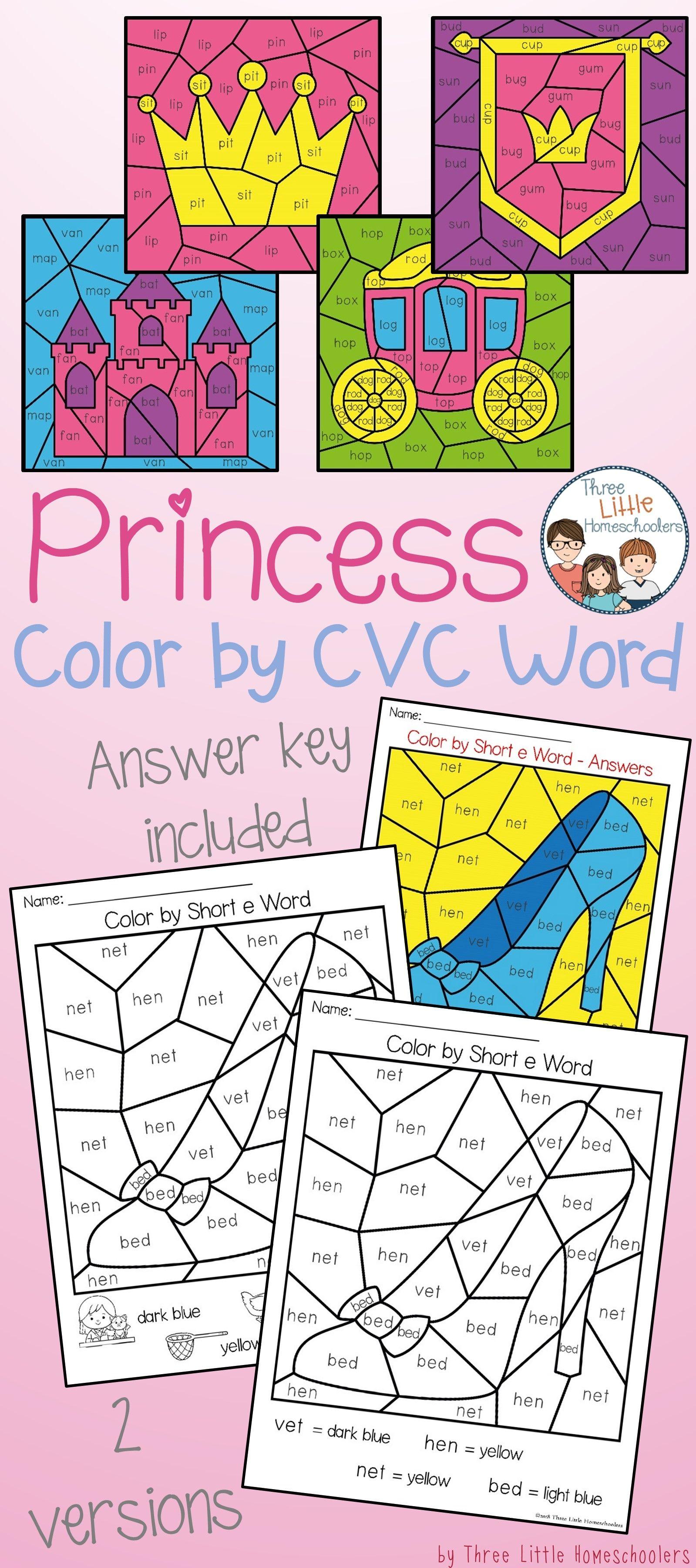 Princess Themed Color By Cvc Word