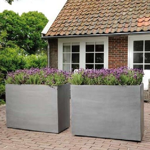 Tall Outdoor Planters | Tall Extended Outdoor Pewter Planter White Spheroid  Interior Planter .