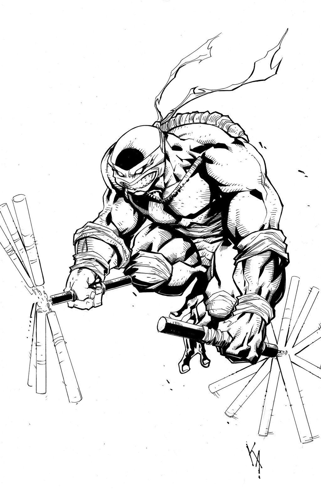 How To Draw Ninja Turtles Pencil Cartoon Black And White