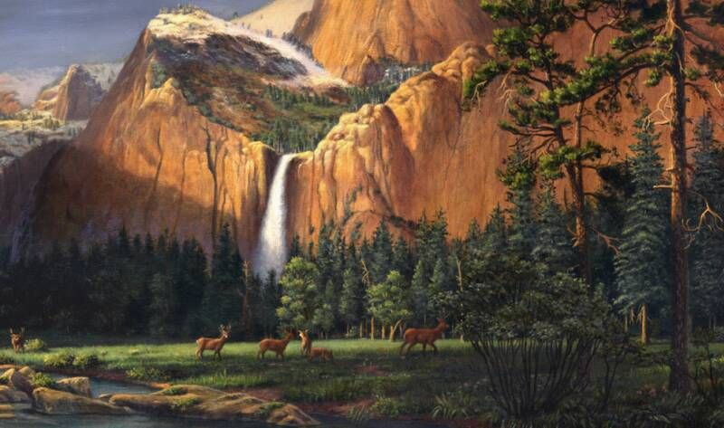 Deer In The Meadow And Mountains Walt Curlee 1998 Original Realistic American Mount Mountain Landscape Painting Waterfall Landscape Landscape Paintings