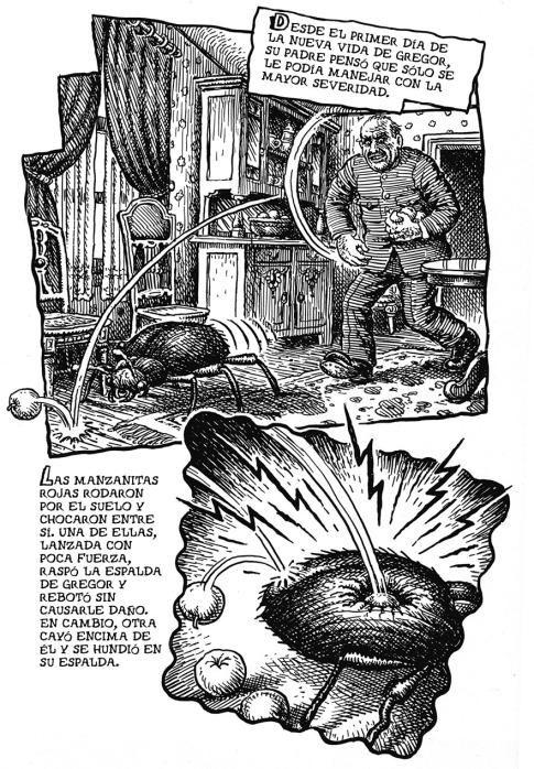 pagina de la vida de kafka dibujada por robert crumb publicada por la caopula