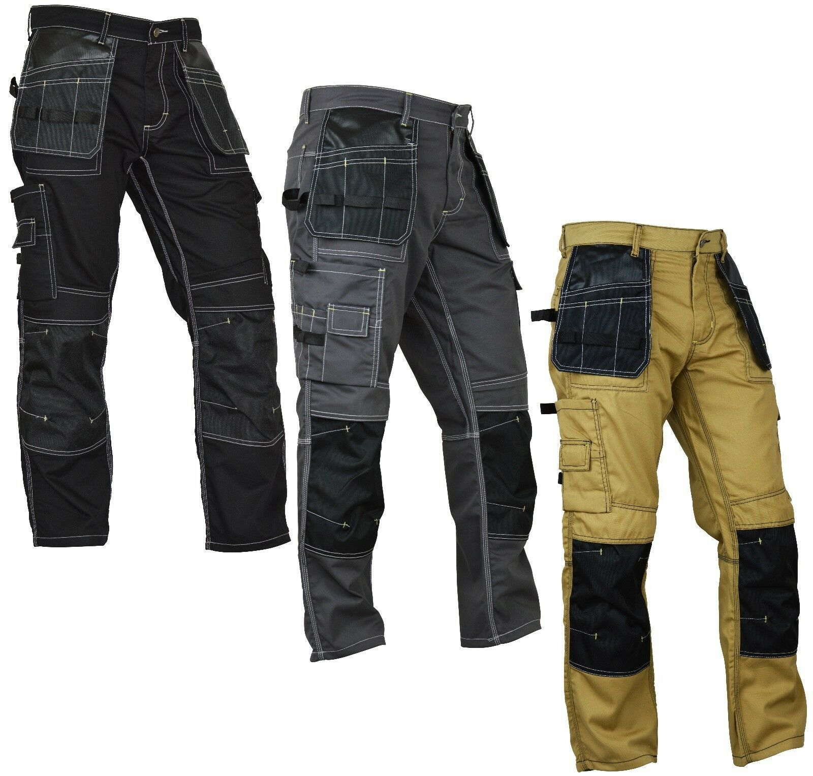 Work Combat Trouser Tuff Cargo Multi Knee Pad Pocket Pro Pants Sports Workwear