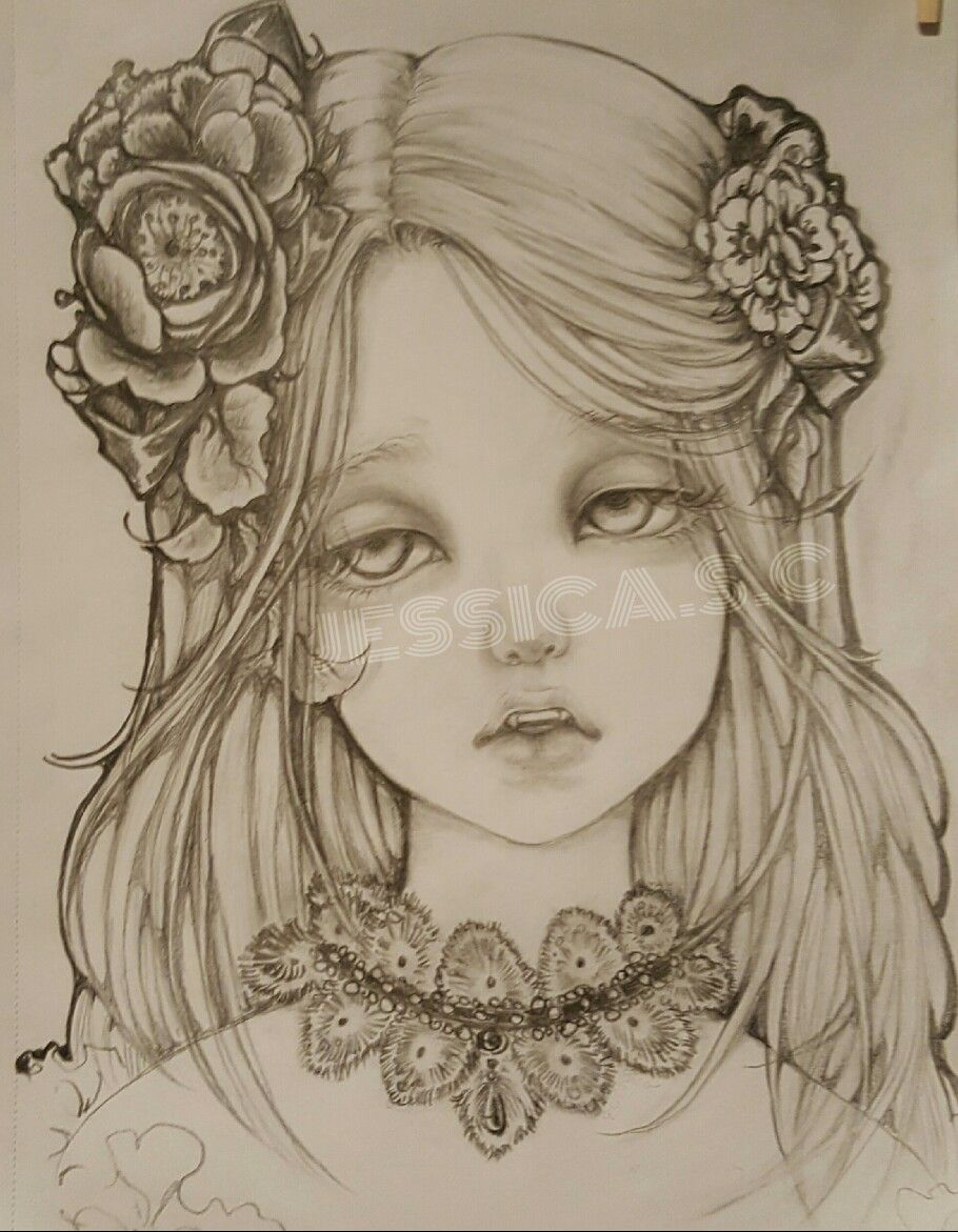 Pencil drawingoftheday beautiful vampire girl dramatic eyes detailhair drawing flower hair corsages more