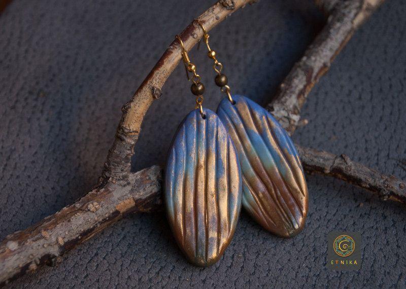 Bohemian Large Drop Earrings Gradient Gilding Polymer Clay Earrings Lavender Brown Leaf Earrings Boho Style Jewelry Gift Idea by Etniika on Etsy