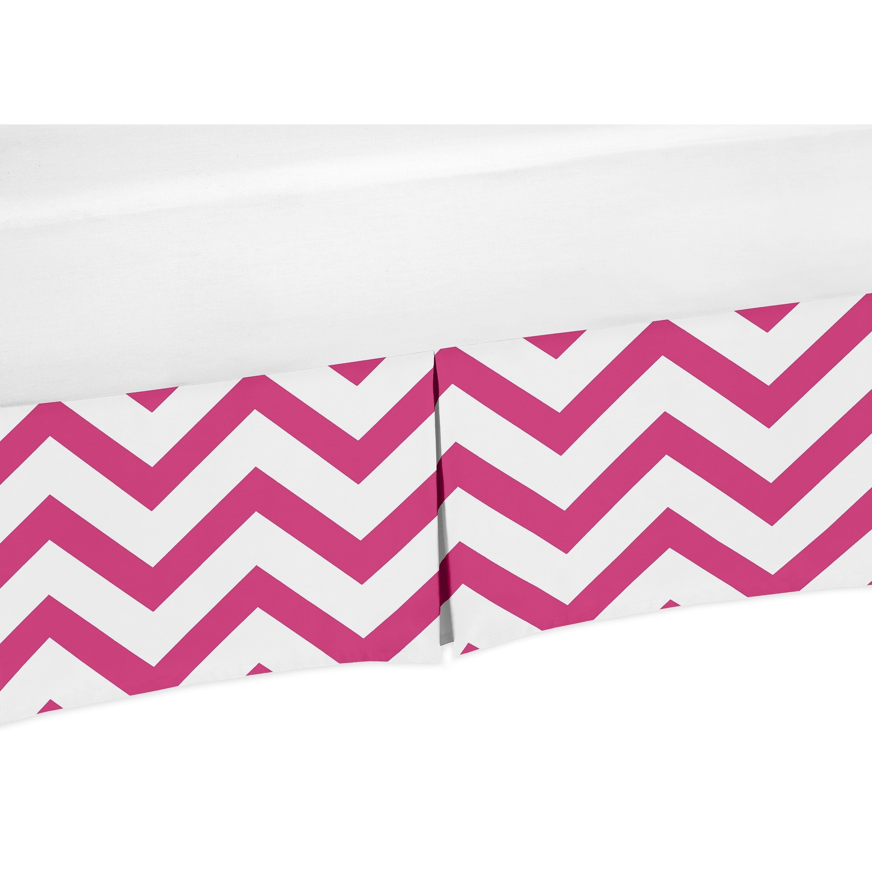 sweet jojo designs pink and white chevron collection crib bed skirt